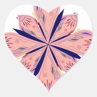 Sticker Cœur Mandalas d'or de rosé