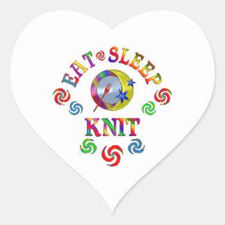 Sticker Cœur Mangez le Knit de sommeil