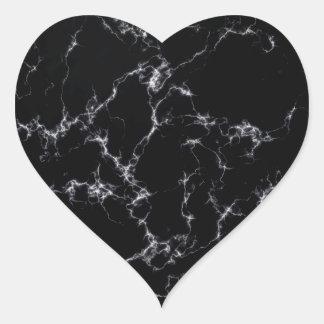 Sticker Cœur Marbre élégant style4 - noir et blanc