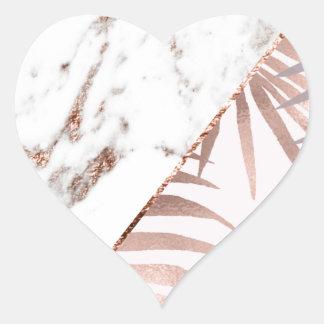 Sticker Cœur Marbre rose d'or et fougères tropicales