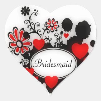Sticker Cœur Mariage blanc noir rouge de flocs de fleur de