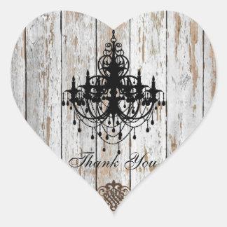 Sticker Cœur mariage campagnard chic minable en bois de grange