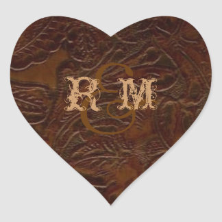 Sticker Cœur mariage campagnard en cuir brun vintage de bottes
