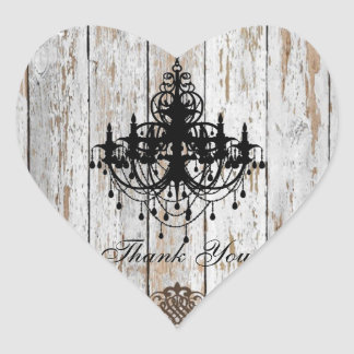 Sticker Cœur mariage campagnard rustique en bois de grange chic