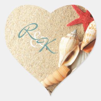 Sticker Cœur mariage de plage romantique élégant de coquillages