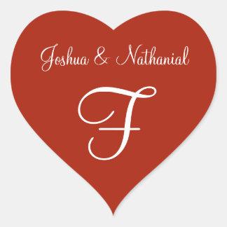 Sticker Cœur Mariage décoré d'un monogramme personnalisé Rufous