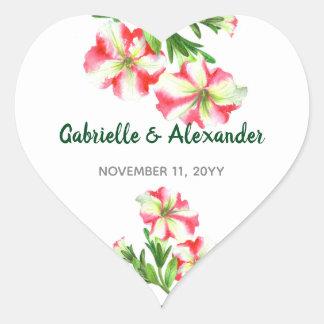 Sticker Cœur Mariage floral d'art de pétunias blancs roses