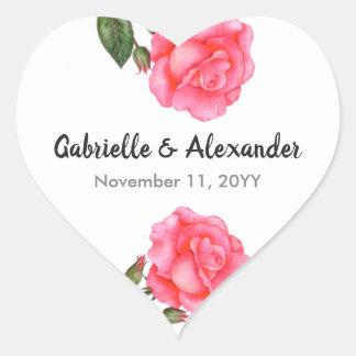 Sticker Cœur Mariage floral d'art de rose de rose d'aquarelle