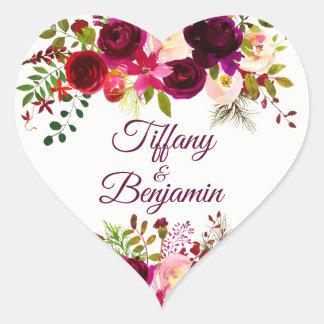 Sticker Cœur Mariage floral rouge de partie de fiançailles de