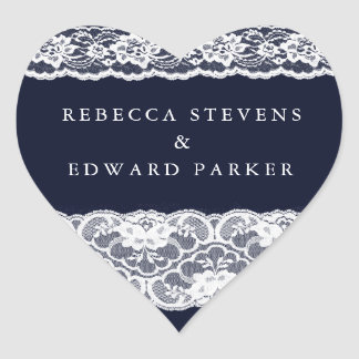Sticker Cœur Mariage moderne élégant blanc de bleu marine de