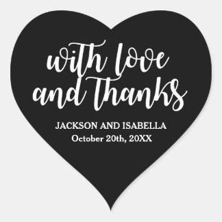 Sticker Cœur Mariage noir et blanc de coeur d'amour et de