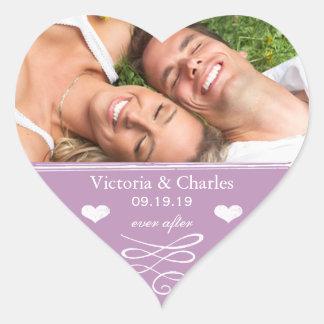 Sticker Cœur Mariage pourpre de destination de plage de lavande