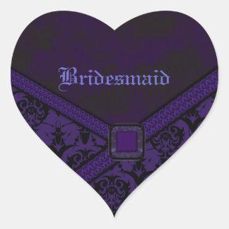 Sticker Cœur Mariage pourpre et noir de dentelle de Goth