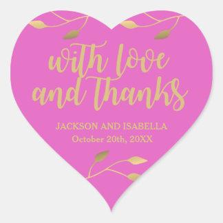Sticker Cœur Mariage rose au néon lumineux personnalisé de