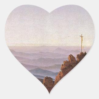 Sticker Cœur Matin dans Riesengebirge - Caspar David Friedrich