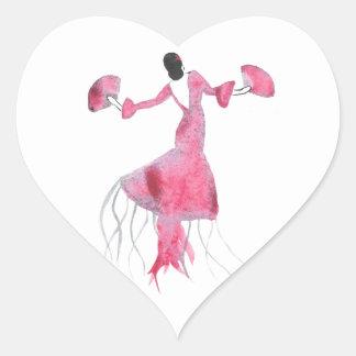 Sticker Cœur Méduses de flamenco - Sabrina