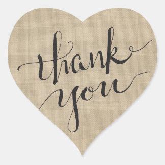 Sticker Cœur Merci d'encre sur la toile simple
