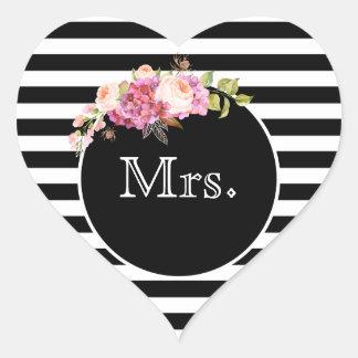 Sticker Cœur Mme avec les rayures et les fleurs noires et