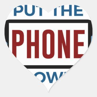 Sticker Cœur Moins de téléphone plus de contact humain de