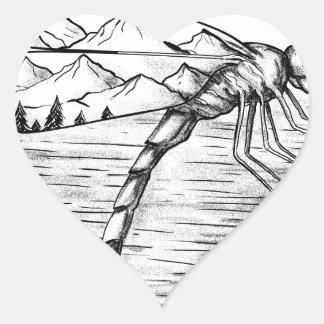 Sticker Cœur Montagne de libellule à l'intérieur de tatouage
