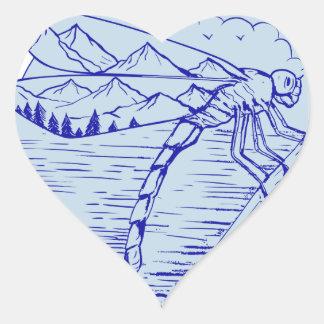Sticker Cœur Montagnes de libellule dans le dessin d'ailes