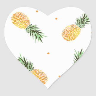 Sticker Cœur Motif d'ananas