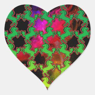 Sticker Cœur Motif de cheval