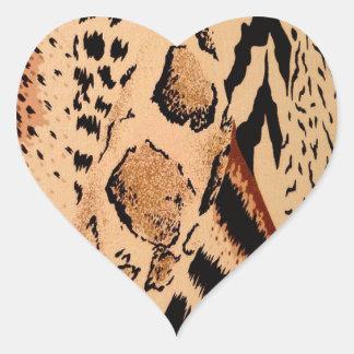 Sticker Cœur Motif de guépard