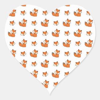 Sticker Cœur motif de renards rouges