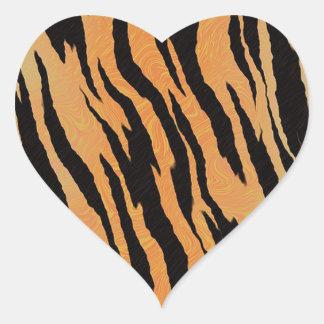 Sticker Cœur Motif de tigre