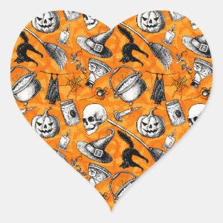 Sticker Cœur Motif heureux vintage de Halloween. Sorcière,