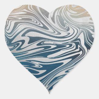 Sticker Cœur Motif liquide argenté abstrait