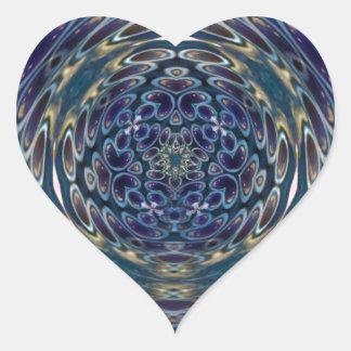 Sticker Cœur Motif portail d'atome psychédélique