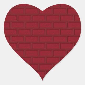 Sticker Cœur Motif rouge frais de mur de briques de bande