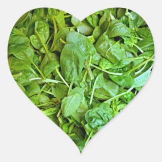 Sticker Cœur Motif vert frais de salade d'épinards