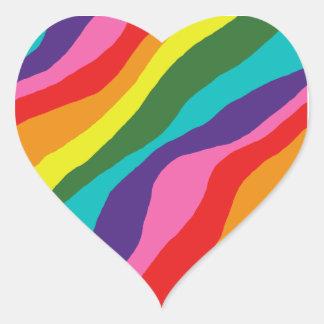 Sticker Cœur Motifs d'arc-en-ciel