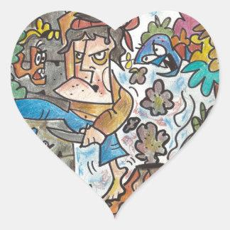 Sticker Cœur N'abandonnez jamais par l'artiste italien, Lorenzo