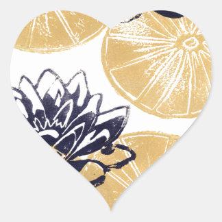 Sticker Cœur Nénuphars d'or