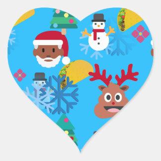 Sticker Cœur Noël noir de taco de père Noël