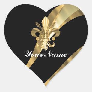 Autocollants stickers fleur de lis en noir et or - Fleur au coeur noir ...