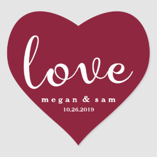 Sticker Cœur Nom et date rouges d'amour