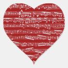 Sticker Cœur Notes rouges de musique