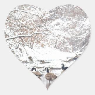 Sticker Cœur Oies dans la neige