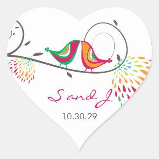 Sticker Cœur Oiseaux de baiser lunatiques d'été épousant des