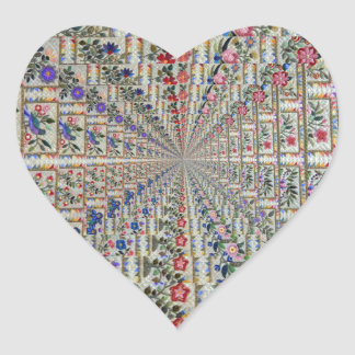 Sticker Cœur Oiseaux et fleurs de motif de broderie