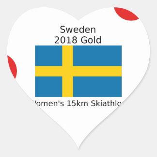 Sticker Cœur Or 2018 de la Suède - 15km Skiathlon des femmes
