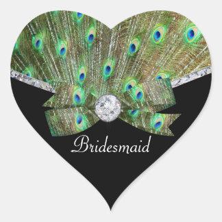Sticker Cœur Paon élégant et mariage de diamants