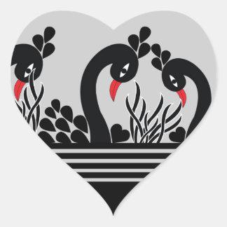 Sticker Cœur paon noir