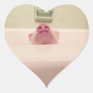 Sticker Cœur Paquet porcin d'autocollant de nez