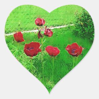 Sticker Cœur Pavots rouges peints en fleur